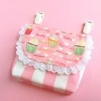 カップケーキ柄移動ポケット(ピンク系)