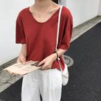 【tops】カジュアルVネック半袖無地合わせやすいTシャツ