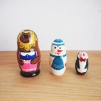 【ロシア】 動物さんマトリョーシカ 「くまと雪だるまとペンギン」 3P 10.5cm