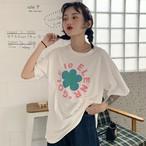 【tops】韓国系可愛いプリントラウンドネックTシャツ