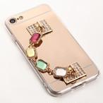 【即納★送料無料】iPhone8対応 ゴールドミラーソフトケースに落下防止キラキラストーンバンド付iPhoneケース