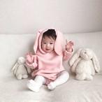 10/11 Start!!【即納】064 こどもふくmina オリジナルカラー第二弾 ラビットロンパース うさぎロンパース 出産祝い  女の子 男の子 赤ちゃん