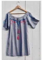 ◆Mon ange Louise◆ EMBROIDERY CALOU DRESS(grey)ビーチドレス ワンピース