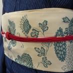 正絹帯締め 赤に多色の切り替え 平織り