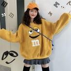 ゆるかわセーター 2色 レッド イエロー マーブルチョコレート キャラクター m&ms ポップ カジュアル 可愛い キュート ゆったり