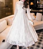1547.シースルー袖レースドレス(ホワイト) 2018 春夏 結婚式 披露宴 ウエディング お呼ばれ 食事会 記念日
