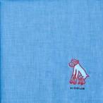 ひびのこづえ ハンカチ ふくらまし / サル ブルー 刺繍入り 2枚合わせ 48x48cm KH07-02