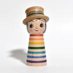 ギョロ目ちゃんこけし(レインボー帽子付) 約3.5寸 約10.2cm 山谷レイ 工人(津軽系)#0202