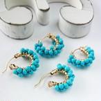 送料無料 14kgf Turquoise♡wrapped pierced earring/earring