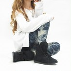 編上げファーブーツ 2WAYムートンブーツ 靴 シューズ 極上の履き心地★ ブラック