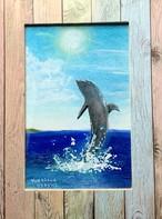 一点物の絵 no.169「イルカと太陽」