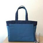 「ボックストート」通勤トート「ネイビー(紺)×ミネラルブルー」帆布トートバッグ 倉敷帆布8号