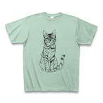 凛としたリアル猫のTシャツ  /10#029  アイスグリーン