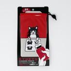 猫ポーチ(白黒さんいらっしゃいお掃除ポーチ)てんちゃんお絵かき(赤)