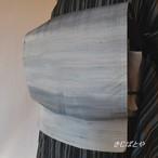 正絹紬 アイスブルーの洒落袋帯