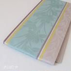 正絹博多半幅帯 花 砧青磁と淡藤