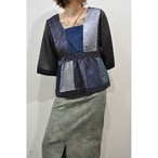 【RehersalL】 pajamas patch square neck blouse(midnight A) /【リハーズオール】パジャマ パッチスクエアネックブラウス(ミッドナイト A)