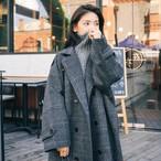 【送料無料】大人のグレンチェックロング コート♡コート ロング ダブル 大人女子 オーバーサイズ 今っぽ