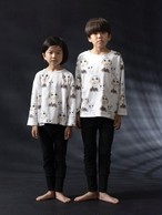 arkakama アルカカマ COTTON SPD L/S LOOSE TEE ( I'll be back 10min) col:IVORY size:S(2-3Y)(100)~L(6-7Y)(120)