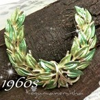 若草グリーン エナメル ベイリーフ ヴィンテージ ブローチ 1960s 大判サイズ ローリエ 月桂樹