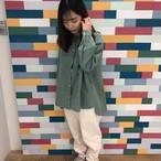 ★SET FAIR★ #Blucielo バンドカラーシャツ #2021春の新作 21136022 #タイプライター素材 #無地 #長袖 #個性派ポケット