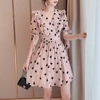 【dress】スウィート着痩せ気質よいプリントⅤネックワンピース