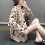 【outer】カーディガンプリントニット長袖ファッションVネック