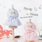 【犬服・ドッグウェア】Fancy House バラ刺繍入り セーラーカラーのワンピース