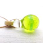 ガラスのしずくペンダント 果実サイダー レモンライム:黄 緑 アクセサリー ハンドメイド