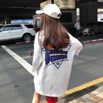【送料無料】 メンズライクコーデに♡ バックプリント Tシャツ オーバーサイズ ロゴ入り カジュアル