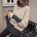 【tops】ファッション感満々配色ハーフネック気品あるセーター24904940