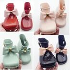 【キッズリボン付きショートレインブーツ】  可愛い 雨靴 韓国子供服 女の子 キッズレインブーツ 子供靴 雨具 レインシューズ 子供    送料無料