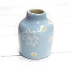 【モリーさん】青空色の花柄花瓶(小)/花瓶