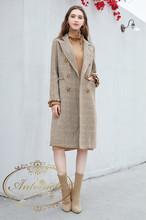 32%ウール オーバーチェック チェスター フィールド コート キャメル レディース 格子柄 可愛い 秋冬