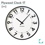 KATOMOKU plywood clock 17 km-106BRRC ブラウン 電波時計