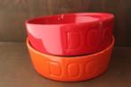 BAUER POTTERY DOG BOWL バウアポッテリー Mサイズ/オレンジ/レッド