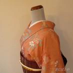 正絹綸子 一斤染色に季節の花の小紋 単衣