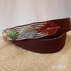 正絹 葉の帯締め チョコ色