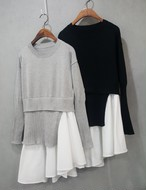 レイヤードニットワンピース ブラウス シャツ 韓国ファッション