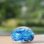沖縄の思い出ペーパーウェイト(ラグーンブルー) 琉球ガラス工房 雫