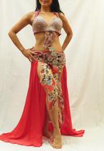 ベリーダンス衣装 ターキッシュスタイル ピンク ブラベルト、スカートセット