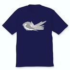 羽づくろいオカメインコTシャツ(ホワイトフェイス女の子)ネイビー