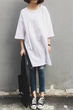 サイドスリット無地半袖Tシャツ Tシャツワンピース【0016】