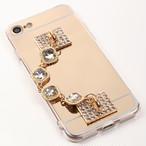 【即納★送料無料】ゴールドミラーソフトケースに落下防止ホワイトキラキラストーンバンド付iPhoneケース