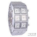 【MS-13】腕時計 6TIME ZONE シックスタイムゾーン (カラー:シルバー×シルバー)[限定100本のみ]