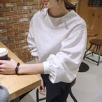 White Blouse and Shirt Simple Leisure Wild Round Neck Lantern Sleeve 570