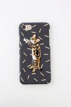 【iPhone6/6S専用】刺繍iPhoneケース ブラウンストライプキャット【箔プリント】