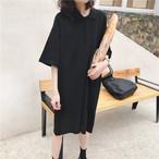 黒 シンプル ポロシャツ ワンピース【16285】