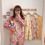 【パジャマ】好感度アップ 絶対可愛い プリント 切り替え パジャマ・長袖セット34113404