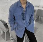 予約注文商品 2ポケットシャツジャケット ★MEN シャツ オーバーサイズ シャツジャケット 韓国ファッション